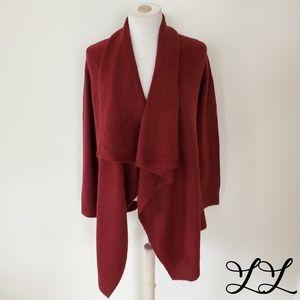 Joe Fresh Cardigan Sweater Burgundy Red Open Front